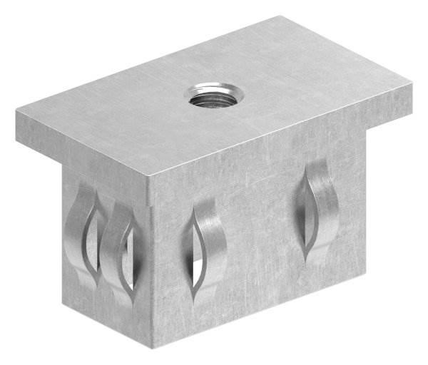 Stahlstopfen flach   mit M8   für Rohr 50x30x2,0-3,0 mm   Stahl S235JR, roh