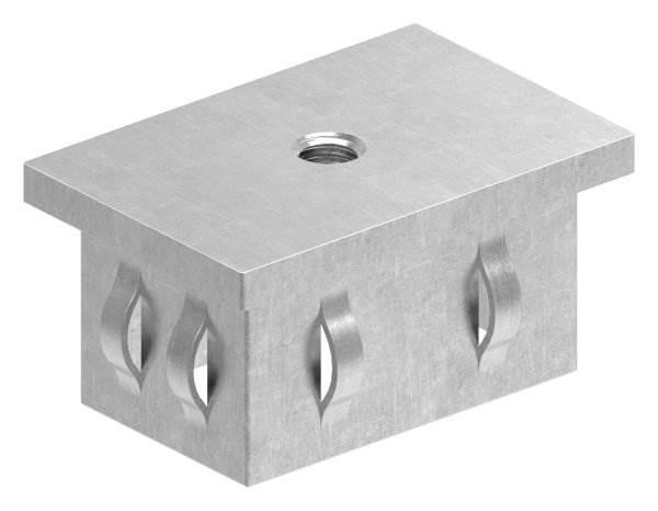 Stahlstopfen flach   mit M8   für Rohr 60x40x2,0-3,0 mm   Stahl S235JR, roh