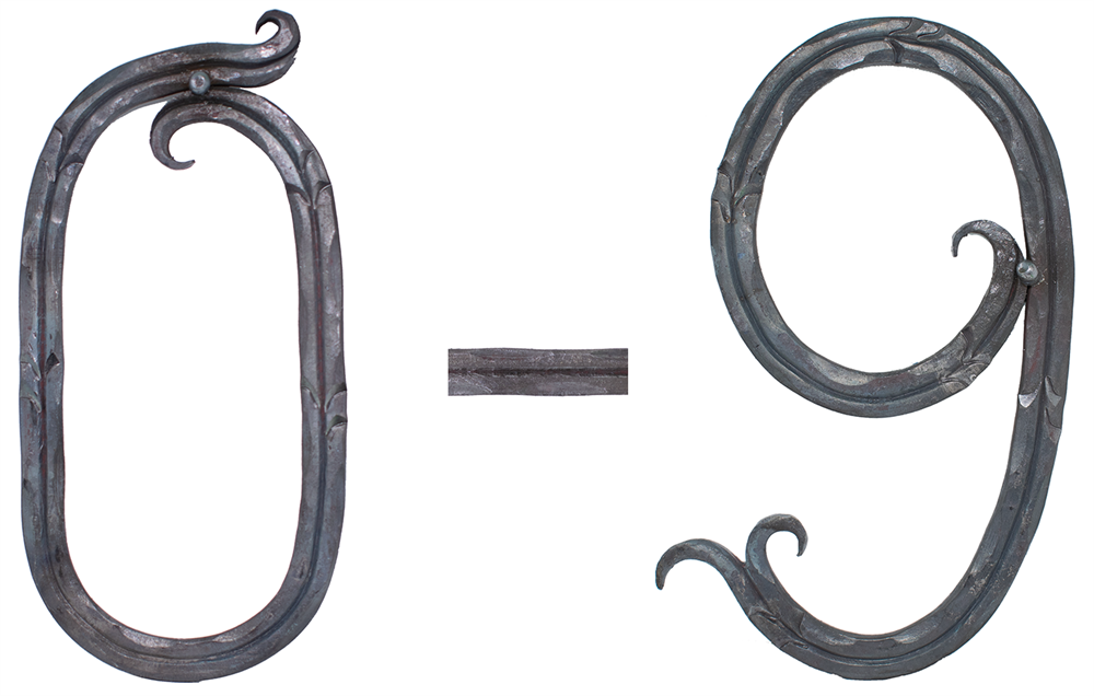 Hausnummer 0 - 9 | Abmessung: 18x10 cm | Material: 12x5 mm | Stahl (Roh) S235JR