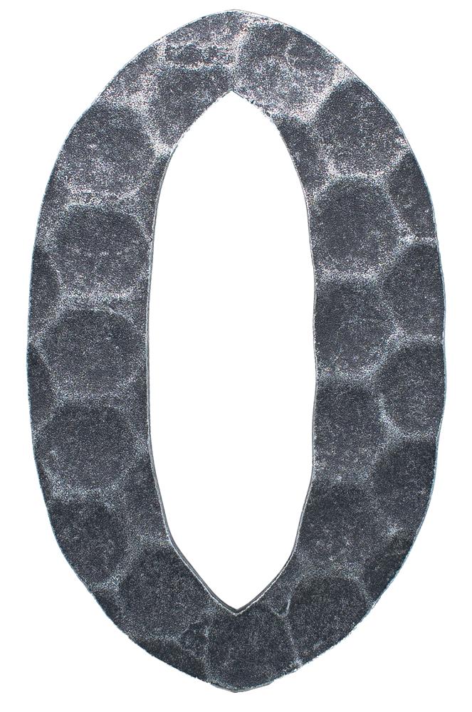 Hausnummer 0 | Abmessung 12x8 cm | Material 4 mm gehämmert | Stahl (Roh) S235JR