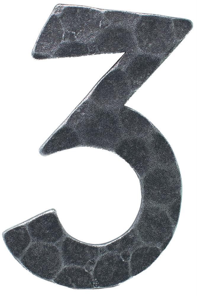 Hausnummer 3 | Abmessung 12x8 cm | Material 4 mm gehämmert | Stahl (Roh) S235JR