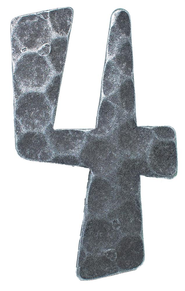Hausnummer 4 | Abmessung 12x8 cm | Material 4 mm gehämmert | Stahl (Roh) S235JR