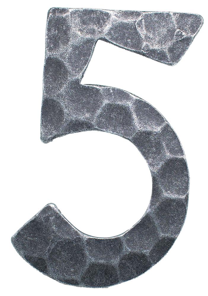 Hausnummer 5 | Abmessung 12x8 cm | Material 4 mm gehämmert | Stahl (Roh) S235JR