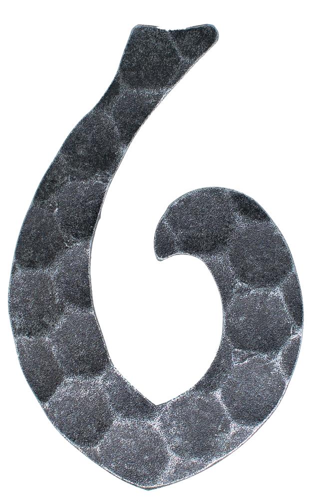 Hausnummer 6 | Abmessung 12x8 cm | Material 4 mm gehämmert | Stahl (Roh) S235JR