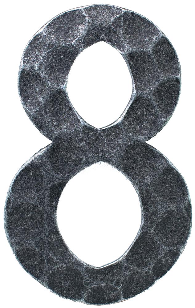 Hausnummer 8 | Abmessung 12x8 cm | Material 4 mm gehämmert | Stahl (Roh) S235JR