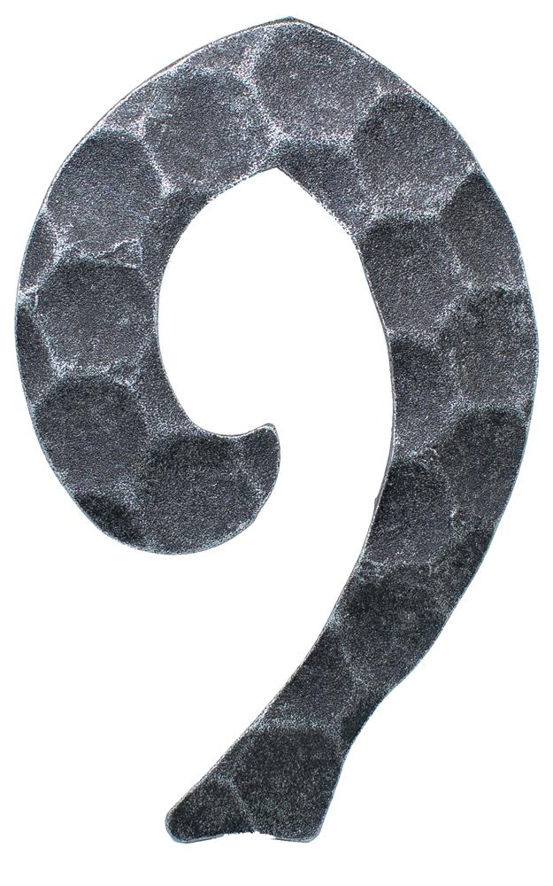 Hausnummer 9 | Abmessung 12x8 cm | Material 4 mm gehämmert | Stahl (Roh) S235JR