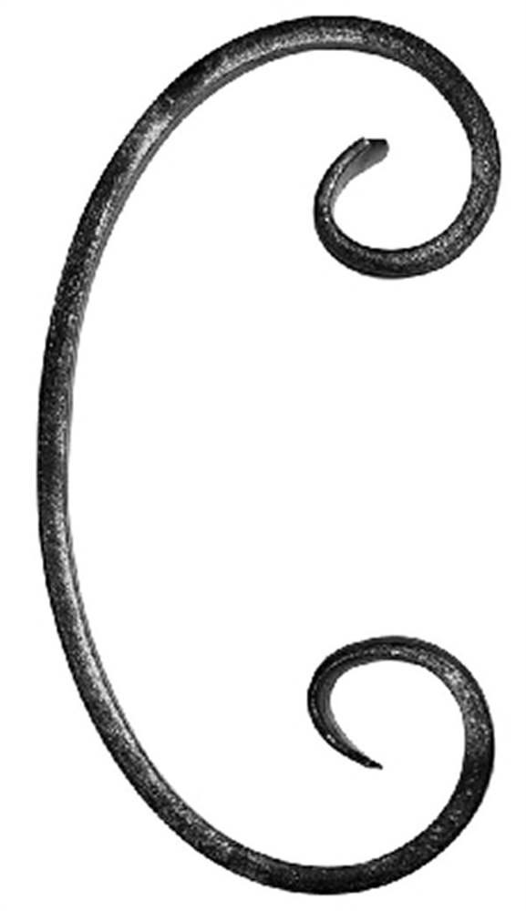 C-Schnecke | Maße: 90x160 mm | Material: 12x5 mm | Stahl S235JR, roh