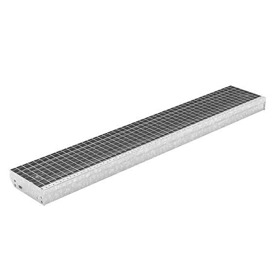 Gitterroststufe XXL | Maße: 1600x270 mm 30/30 mm | aus S235JR (St37-2), im Vollbad feuerverzinkt