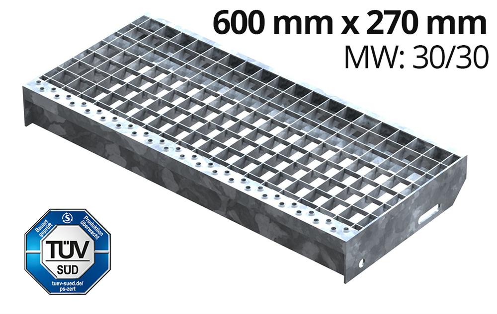 Gitterroststufe XSL Stahlstufe 800x270 mm 30//30 mm R12 Treppenstufe Stiege
