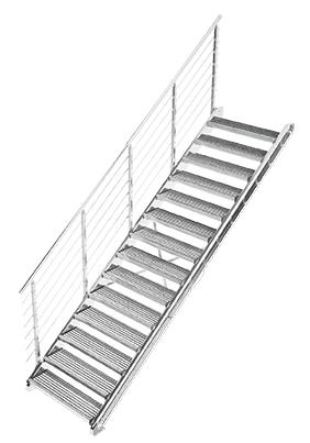 Gitterrost Schnellbautreppe   Treppenbausatz   für Geschosshöhe: 2,7 - 3,6 m