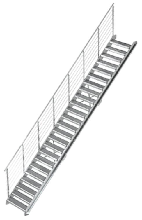 Gitterrost Schnellbautreppe   Treppenbausatz   für Geschosshöhe: 4,4 - 6,0 m