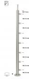Pfosten V2A zur Bodenmontage mit 7 Querstabhalter für Ø 12 mm