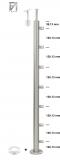 Pfosten V2A zur Bodenmontage mit 7 Querstabhalter für Ø 10 mm