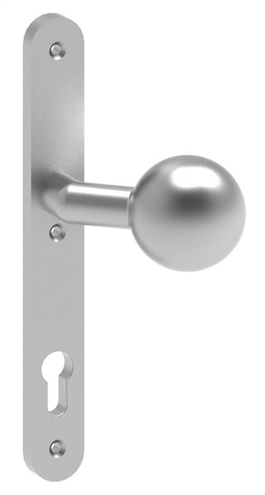 Alu-Türknopf mit Kugel | Maße: 30x245x10 mm | Form: gekröpft | Aluminium EV1