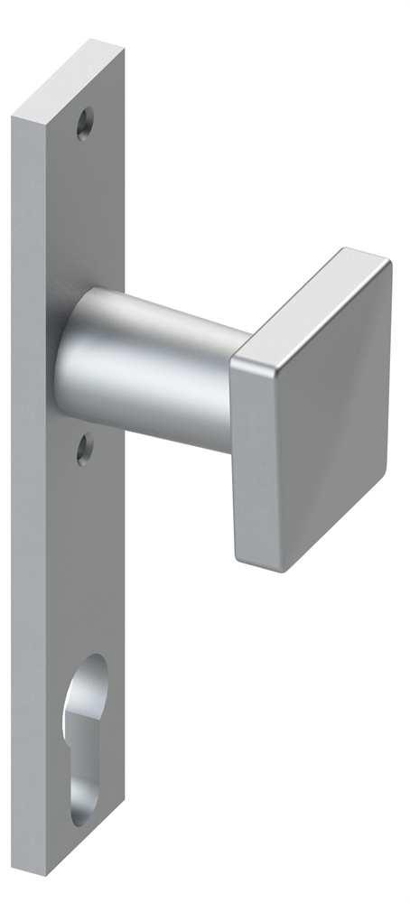 Alu-Türdrücker | fest mit Alu-Zylinderkurzschild | Aluminium EV1