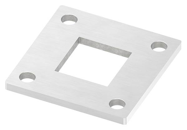 Ankerplatte | Maße: 92 x 92 x 6 mm | mit Zentrierbohrung: 40,2 x 40,2 mm | V2A
