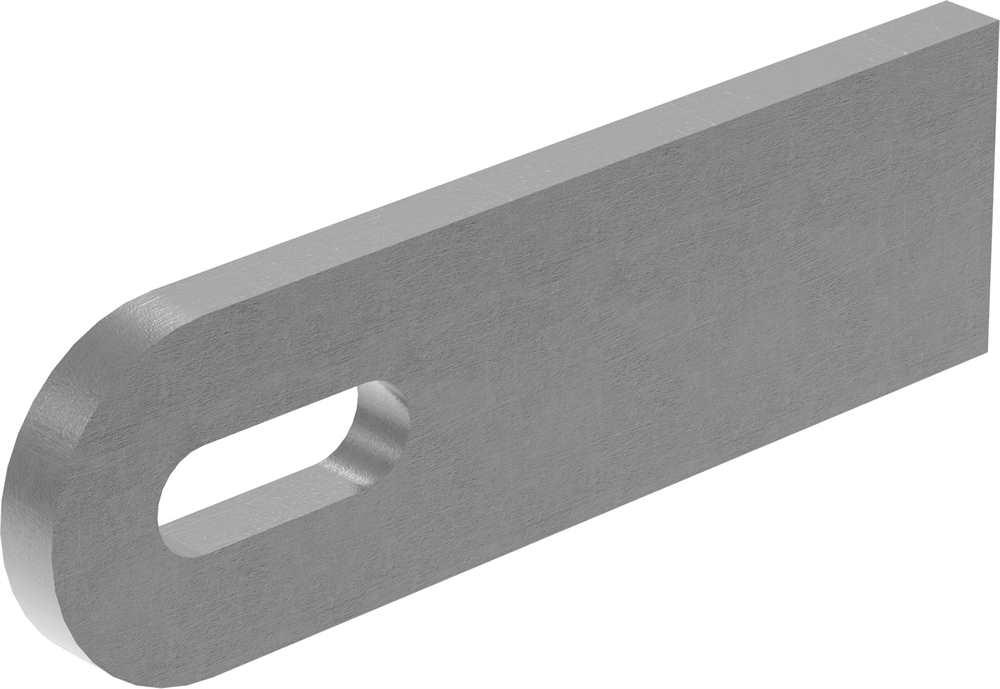 Anschweißlasche   Maße: 100x30x6 mm   Langloch: 25x9 mm   Stahl (roh) S235JR