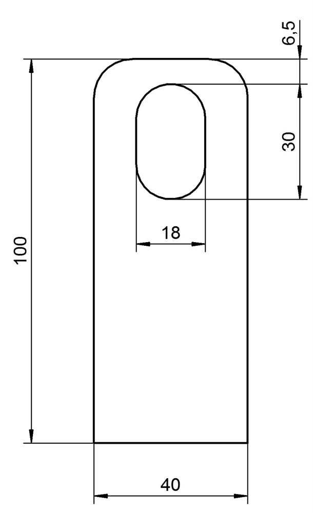 Anschweißlasche   Maße: 100x40x8 mm   Langloch: 30x18 mm   Stahl (roh) S235JR