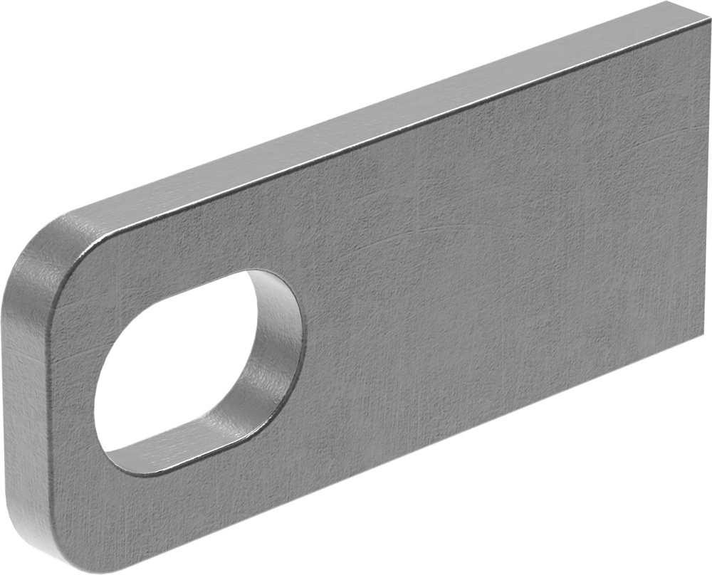 Anschweißlasche   Maße: 100x40x8 mm   Langloch: 30x20 mm   Stahl (roh) S235JR