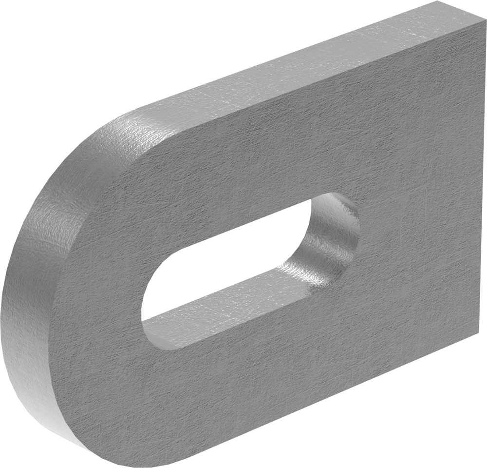 Anschweißlasche | Maße: 50x30x6 mm | Langloch: 25x9 mm | Stahl (roh) S235JR