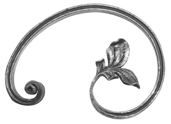 Barockelement | links | Schwerbarock | Maße: 130x195 mm | Material: 16x8 mm | Stahl S235JR, roh