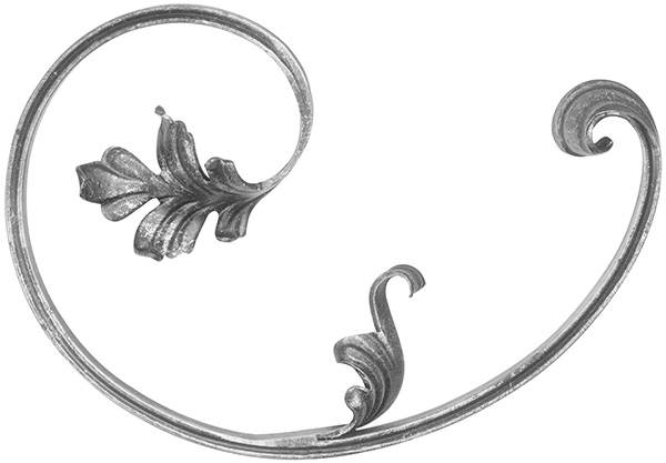 Barockelement | links | Schwerbarock | Maße: 200x280 mm | Material: 16x8 mm | Stahl S235JR, roh