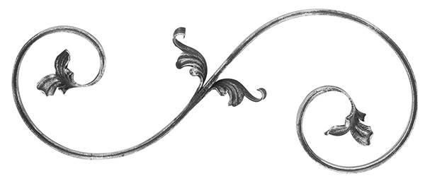 Barockelement | links | Schwerbarock | Maße: 220x540 mm | Material: 16x8 mm | Stahl S235JR, roh
