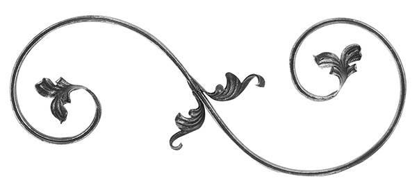 Barockelement | rechts | Schwerbarock | Maße: 220x540 mm | Material: 16x8 mm | Stahl S235JR, roh