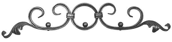 Barockelement | Schwerbarock | Maße: 500x80 mm | Material: 16x8 mm, gerillt | Stahl S235JR, roh