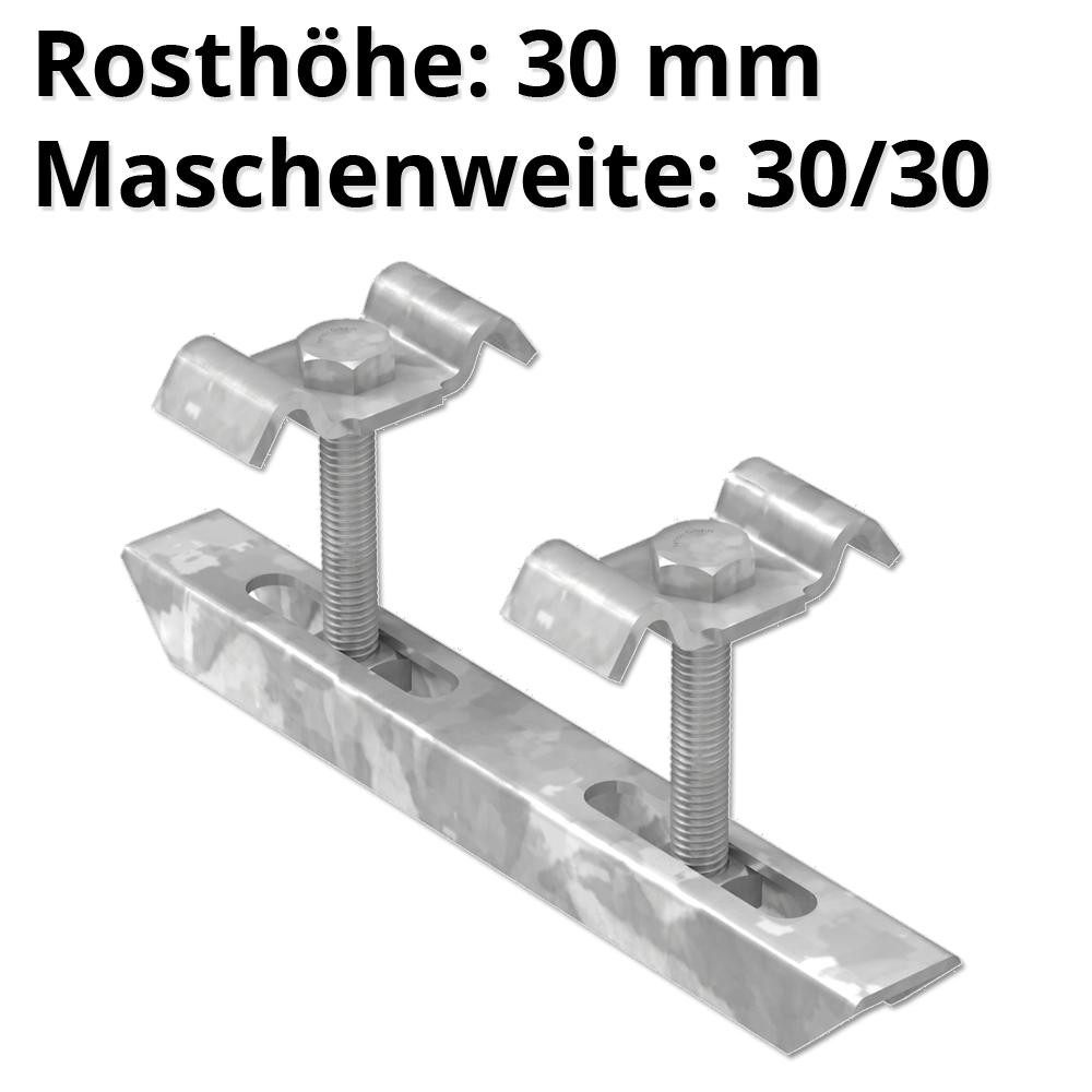Doppelklemme für Rosthöhe 30 mm | MW 30/30 mm | aus St37, feuerverzinkt