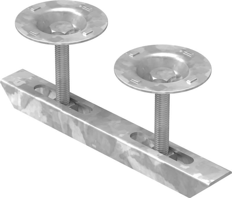 Doppelklemme mit Teller für Rosthöhe 30 mm | MW 30/30 mm | aus St37, feuerverzinkt