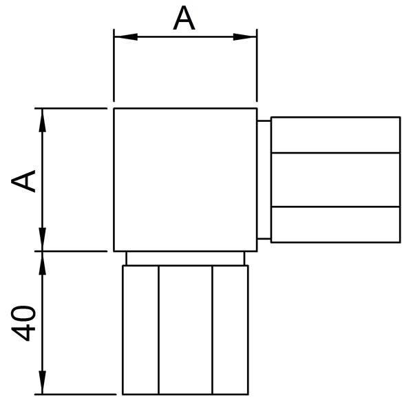 Ecke V2A 90° zum Stecken und Kleben für 40 x 40 x