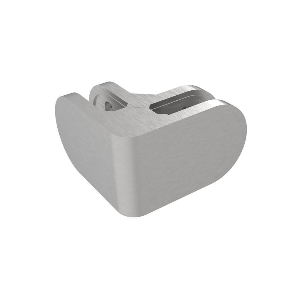 Eckglasklemme 90°   Maße: 162x45x28 mm   für Anschluss: flach   V4A