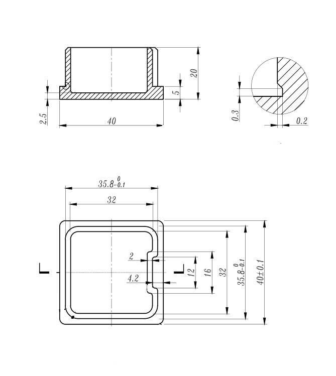 Einsteckkappe zum Kleben für Rohr 40x40x2,0 mm V2A