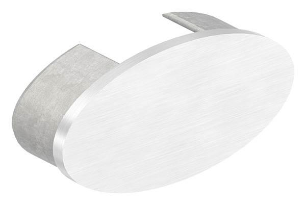 Endkappe | flache Ausführung | für Oval-Nutrohr: 80x40x1,5 mm | V2A