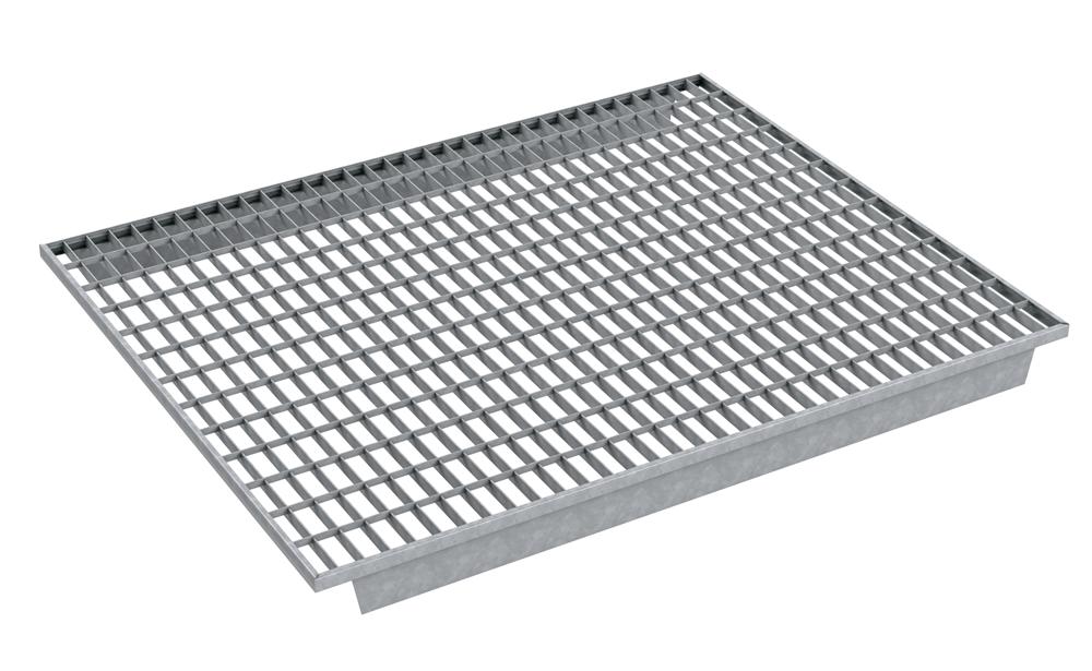 Fachbodenmodul   Maße: 880x1100x20 mm   Last: 800 kg   S235JR, im Vollbad feuerverzinkt