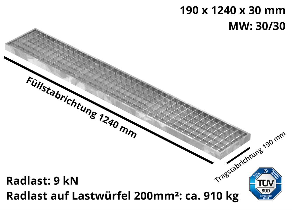 Garagen-Gitterrost | Maße:  190x1240x30 mm 30/30 mm | aus S235JR (St37-2), im Vollbad feuerverzinkt