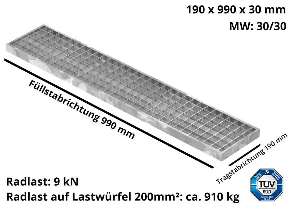 Garagen-Gitterrost | Maße:  190x990x30 mm 30/30 mm | aus S235JR (St37-2), im Vollbad feuerverzinkt