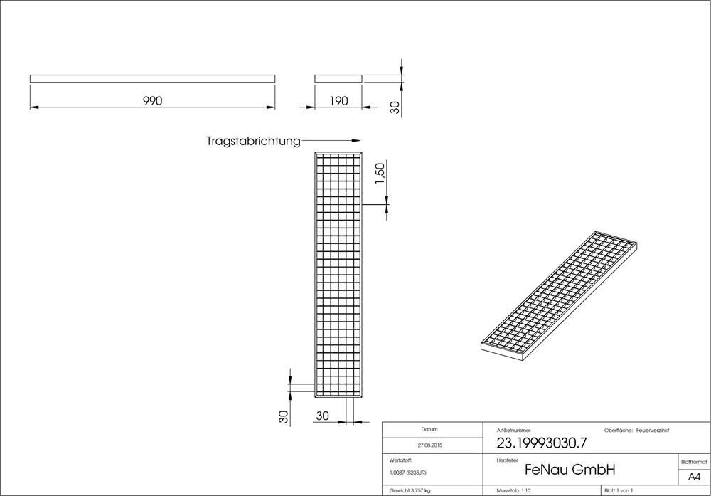 Garagen-Gitterrost   Maße:  190x990x30 mm 30/30 mm   aus S235JR (St37-2), im Vollbad feuerverzinkt
