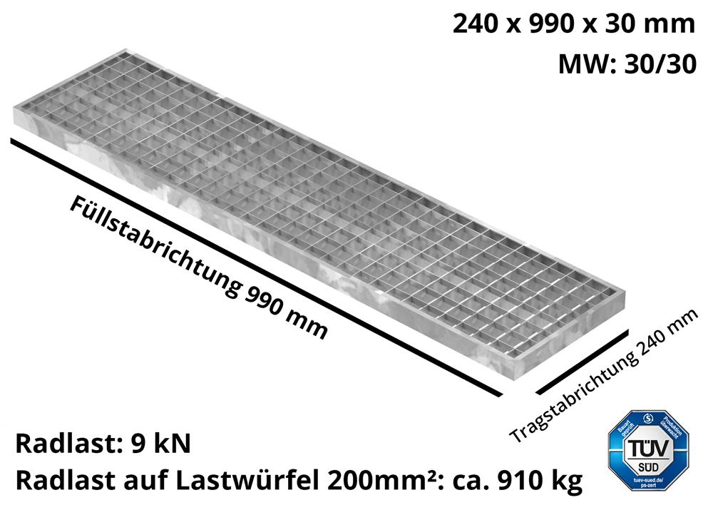 Garagen-Gitterrost | Maße:  240x990x30 mm 30/30 mm | aus S235JR (St37-2), im Vollbad feuerverzinkt