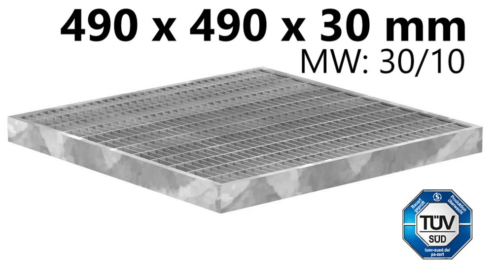 Garagen-Gitterrost | Maße:  490x490x30 mm 30/10 mm | aus S235JR (St37-2), im Vollbad feuerverzinkt