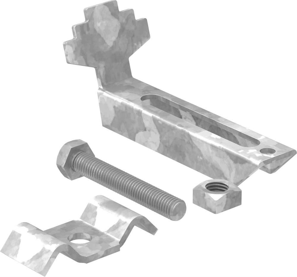 Gitterrost-Klemme | Rosthöhe 30mm | MW: (30 mm / 30 mm)  | S235JR / ST37  feuerverzinkt