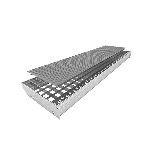 Gitterrostauflage aus Kunststoff | mit Noppen | Maße: 800x200 mm | Schiefergrau