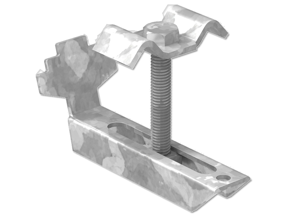 Gitterrostklemme für Rosthöhe 60-70 mm | MW 30/30 mm | aus St37, feuerverzinkt