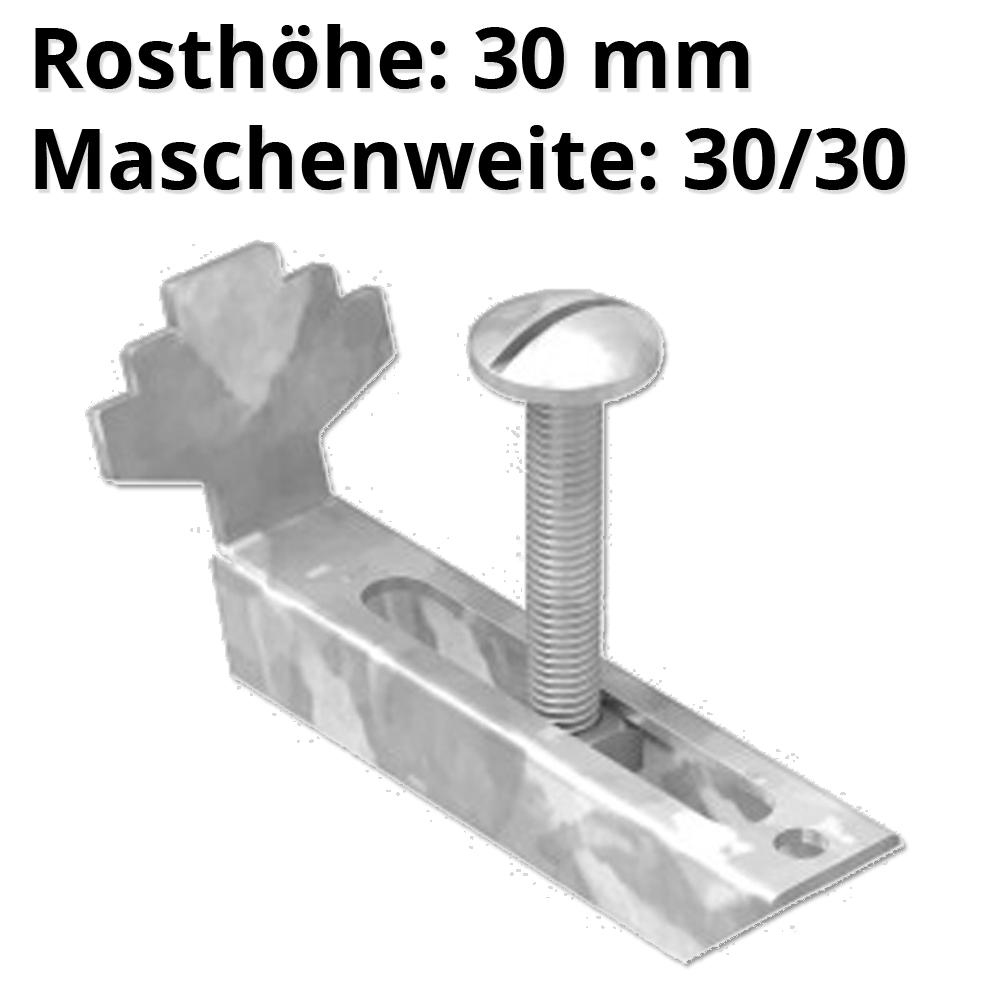 Gitterrostklemme für Rosthöhe 30 mm | MW 30/10 mm | aus St37, feuerverzinkt