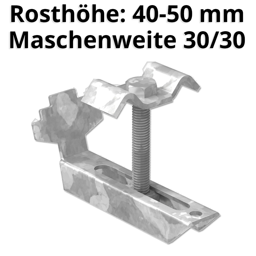 Gitterrostklemme für Rosthöhe 40-50 mm | MW 30/30 mm | aus St37, feuerverzinkt