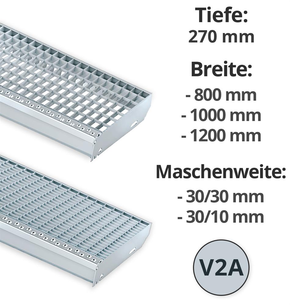 Gitterroststufe Treppenstufe   Maße: 1000x270 mm 30/10 mm   V2A AISI304