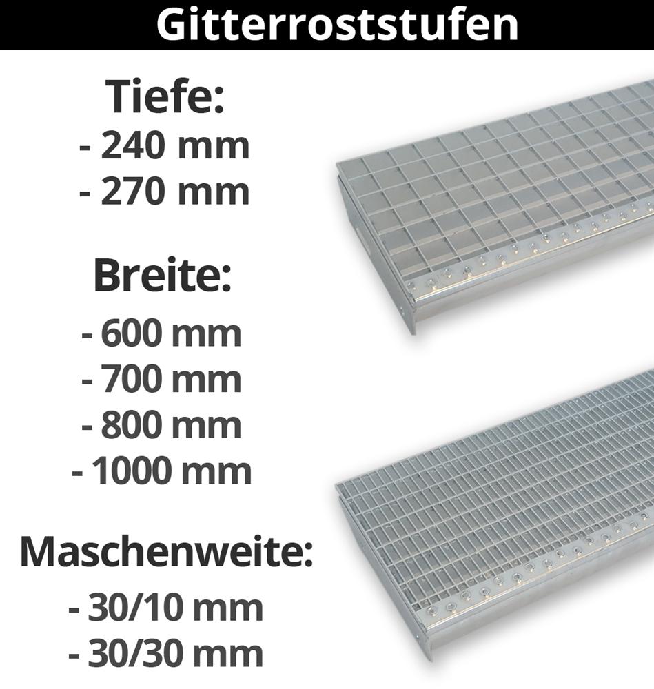 Gitterroststufe Treppenstufe | Verschiedene Abmessungen | S235JR (St37-2), im Vollbad feuerverzinkt