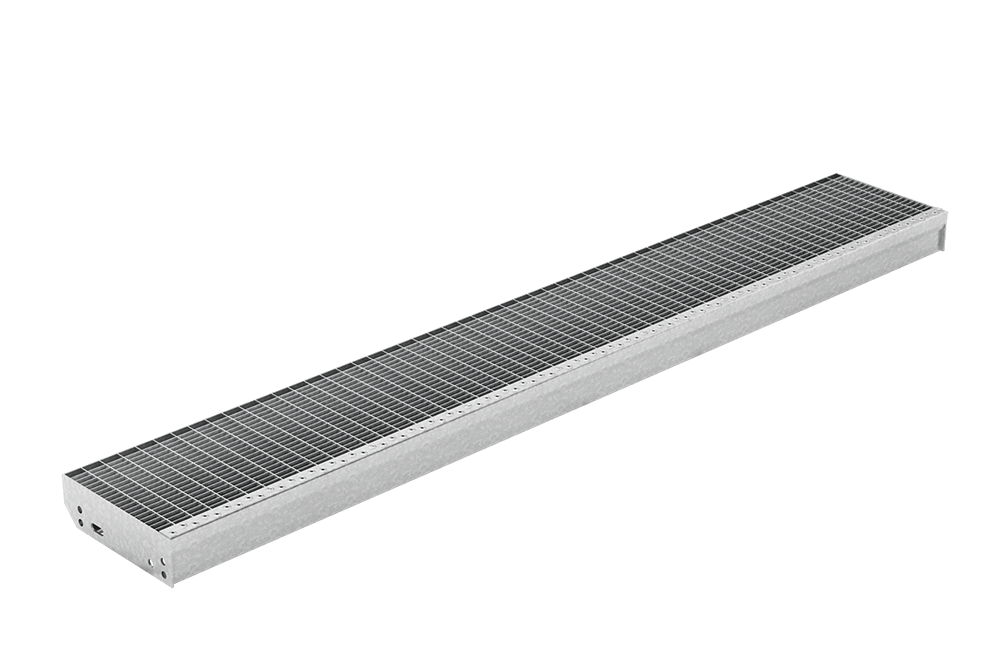 Gitterroststufe XXL | Maße: 1600x270 mm 30/10 mm | aus S235JR (St37-2), im Vollbad feuerverzinkt
