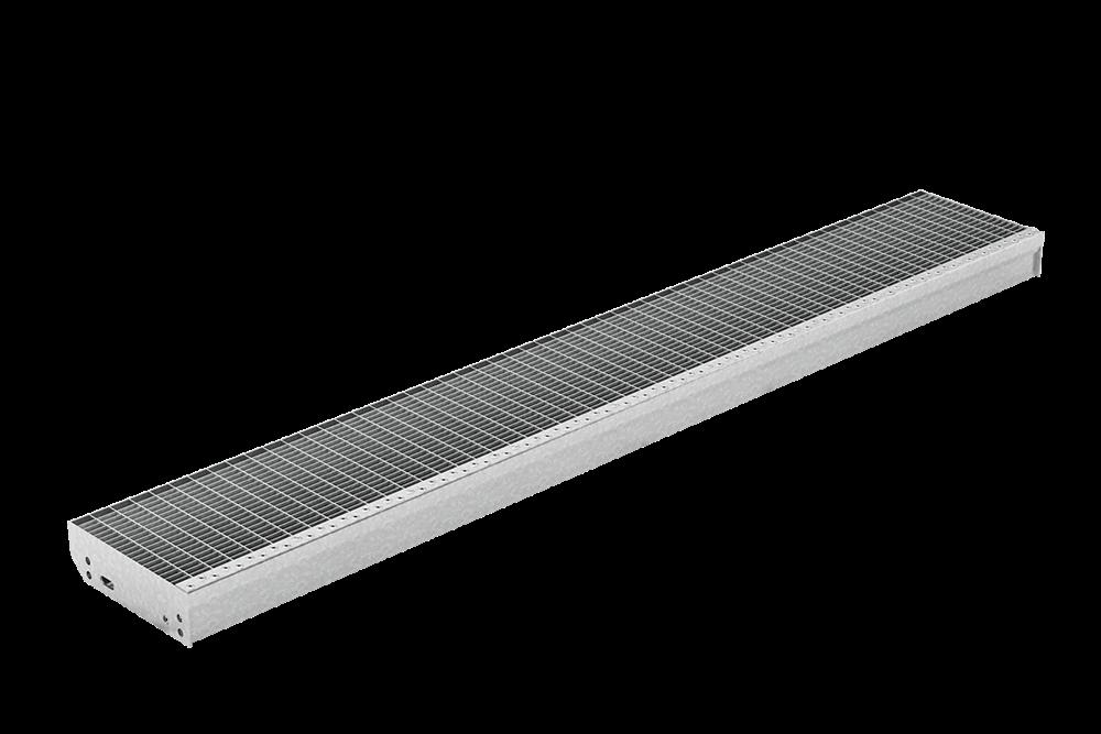 Gitterroststufe XXL | Maße: 2100x270 mm 30/10 mm | aus S235JR (St37-2), im Vollbad feuerverzinkt